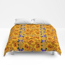 GOLDEN  YELLOW SUNFLOWERS GOLD & PURPLE PATTERN Comforters