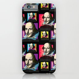 WILLIAM SHAKESPEARE (POP ART 4-UP COLLAGE, ON BLACK) iPhone Case