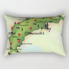 The Cotswolds Vintage Map Rectangular Pillow
