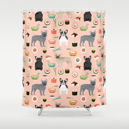 frenchie sushi cute funny dog breed pet pattern french bulldog Shower Curtain
