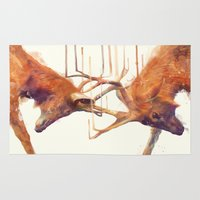 strong Area & Throw Rugs featuring Stags // Strong by Amy Hamilton