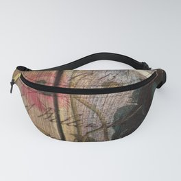 wood grain vintage bird french scripts poppy flower botanical art Fanny Pack