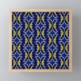 Yellow Darkblue Ornament  Baroque Damask Pattern Framed Mini Art Print