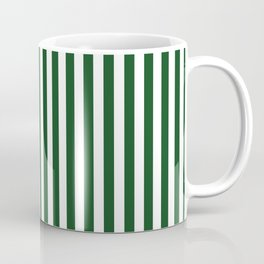 Original Forest Green and White Rustic Vertical Tent Stripes Coffee Mug