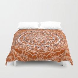 Detailed Burnt Orange Mandala Duvet Cover