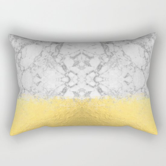 Marble with Brushed Gold - Gold foil, gold, marble, black and white, trendy, luxe, gold phone Rectangular Pillow