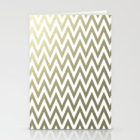 gold foil Stationery Cards featuring Gold Foil Chevron by Zen and Chic
