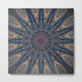 Delicate Navy Blue Bohemian Mandala Metal Print