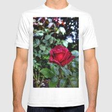 Red Velvet Rose MEDIUM White Mens Fitted Tee