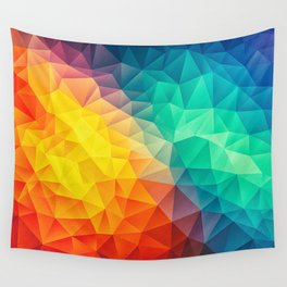 Abstract Polygon Multi Color Cubism Low Poly Triangle Design Wall Tapestry