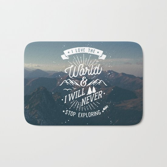 Inspirational Quote and Blue Mountains II Bath Mat