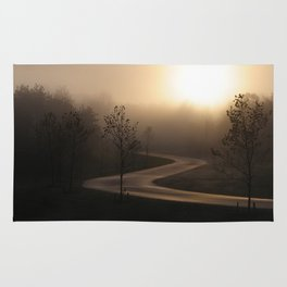 The long and winding misty and moody road Rug