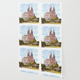 La Sagrada Familia watercolor Wallpaper