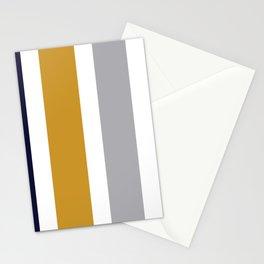 Quatro Stripe Minimalist Broad Stripe Color Block Pattern in Mustard Yellow, Navy Blue, Gray, White Stationery Cards
