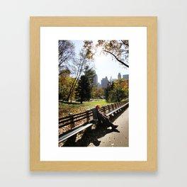 A Moment of Rest in Central Park Framed Art Print