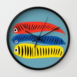 Fishes Red Blue and Yellow illustration for Kids Wall Clock