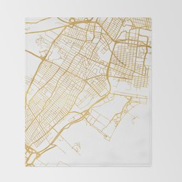 JERSEY CITY NEW JERSEY STREET MAP ART Throw Blanket
