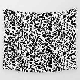 Terrazzo Spot 2 Black on White Wall Tapestry