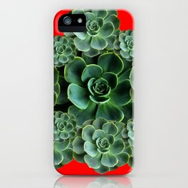 CHINESE  RED ART JADE GREEN SUCCULENTS iPhone Case