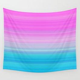 Pink & Aquamarine Blue Stripes Wall Tapestry