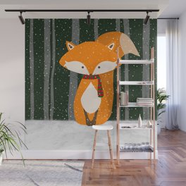 Fox Wintery Holiday Design Wall Mural