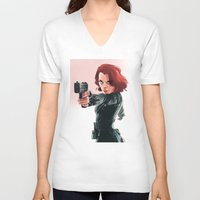 black widow V-neck T-shirts featuring Black Widow by nachodraws