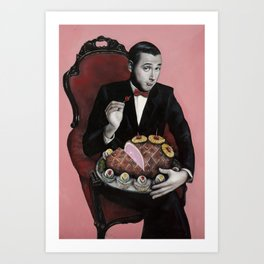 Pee-wee Herman with a pineapple-glazed ham Art Print
