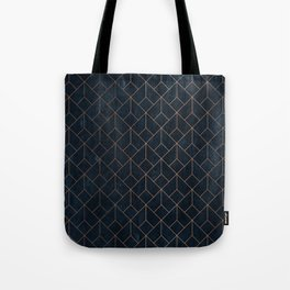 Gold Art deco on Navy ink Tote Bag
