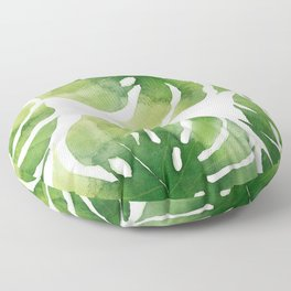 Monstera watercolor I Floor Pillow