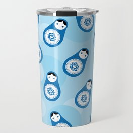 matrioshka doll - blue parttern Travel Mug