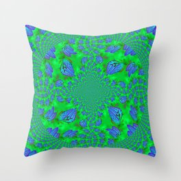 Blue - Spruce Cones on Green Fractal Throw Pillow
