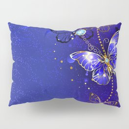 Blue Background with Sapphire Butterfly Pillow Sham