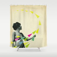 erotic Shower Curtains featuring She's a Whirlwind by Cassia Beck