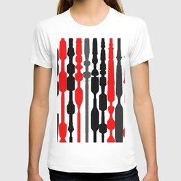 red black grey white geometric striped pattern T-shirt