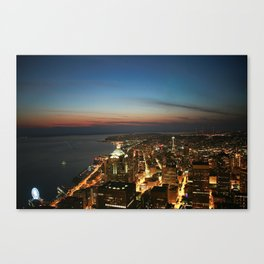 Amazing Night Photo Of Seattle  Canvas Print