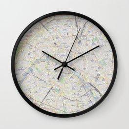 map of Paris – France, French,city of light,seine, parisien, parisian. Wall Clock