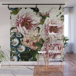 Vintage Peony and Ipomea Pattern - Smelling Dreams Wall Mural