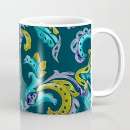 Scroll - Hand Painted Teal Ground Coffee Mug