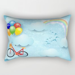 Surreal sky with bike and balloons Rectangular Pillow