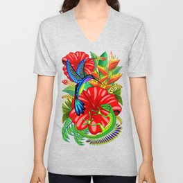 The Lizard, The Hummingbird and The Hibiscus Unisex V-Neck