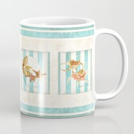 Conch Shell Striped Shabby Beach Cottage Watercolor Illustration Coffee Mug