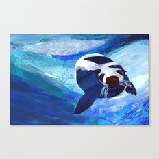 Swimming Seal Canvas Print