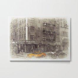 NYC Yellow Cabs Bagel Cafe - SKETCH Metal Print