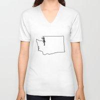 washington V-neck T-shirts featuring Washington by mrTidwell