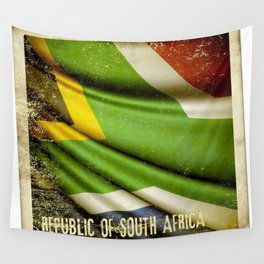 South Africa grunge sticker flag Wall Tapestry