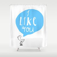 i like you Shower Curtains featuring I Like You by Aaron Cushley