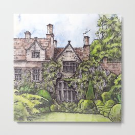 Old English Manor House ink & watercolor illustration Metal Print