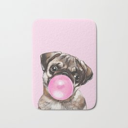 Pug with Pink Bubble Gum Bath Mat