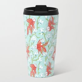 Goldfish, Mask and Magnolia Pattern Travel Mug