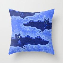 Blue Batty Flight Throw Pillow